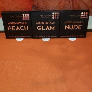 3 Profusion Eyeshadow Palettes Glam, Nude & Peach